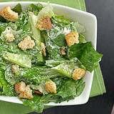 Caesar salad top down view