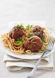 large meatballs with spaghetti