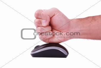 A male man punching a white mouse, white background