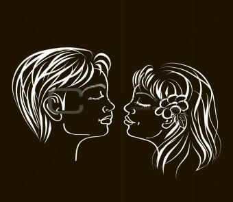 first kiss in white on black colours