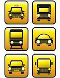 set of icons cars and train