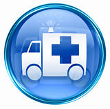 First aid icon blue, isolated on white background.