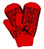Woolen mittens on white background