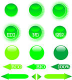 set of green ecology icon shiny button