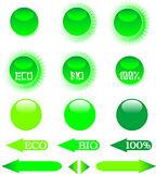 set of green ecology icon shiny button