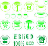 set of ecology symbol icon set green