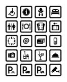 Symbols hotel services. Signs set motel services. Black.