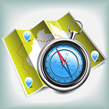 Compass and map vector icon
