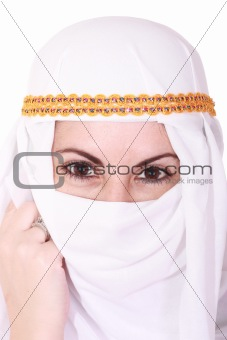 beautiful young arabic woman Middle East in the national headdress, isolted over white image