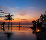 Sunset and infinity pool