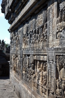 Ancient stone carvings at Borobudur Temple Indonesia