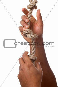 Person letting go of a rope isolated on white background