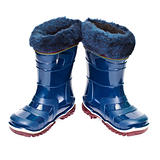 Pair of small rubber boots with artificial fur