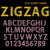 Hand drawing ornamental alphabet zigzag