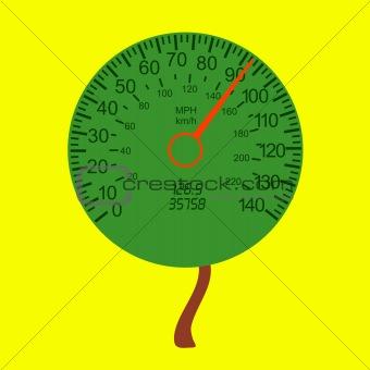 car speedometer as the tree crown