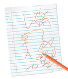 child drawing on lined paper