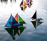 Colourful model sail boats