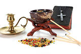 colorful frankincense with incense censer