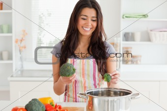 Beautiful female preparing vegetables while standing