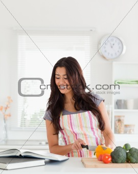 Attractive woman consulting a notebook while cooking vegetables