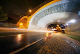 Night urban scene with tunnel