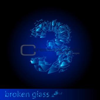 Broken glass - digit three