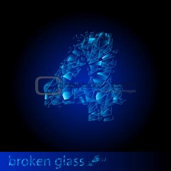 Broken glass - digit four