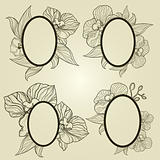 Vector set of vintage frames with flowers - orchid