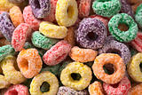 Colorful Cereal Loops with Different Fruit Flavour