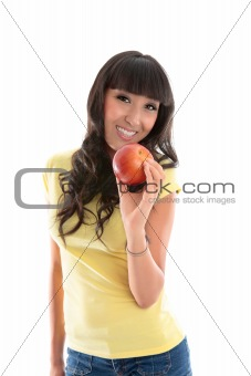 Healthy Lifestyle - Happy woman eat apple
