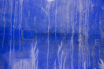 blue painted wall grunge background