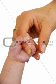 Baby and mothers hand