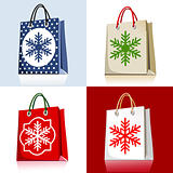 Set of christmas shopping bags
