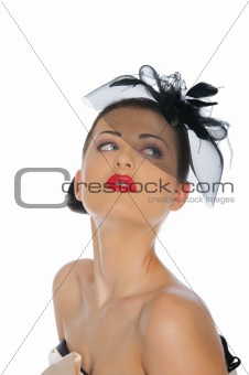 beautiful woman in black hat