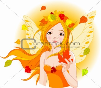 Autumn fairy with leaf