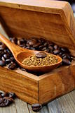 flavored coffee beans in a wooden brown box