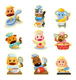 cartoon animal chef icons collection,vector
