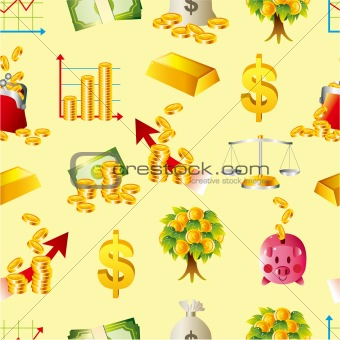 cartoon Finance & Money seamless pattern
