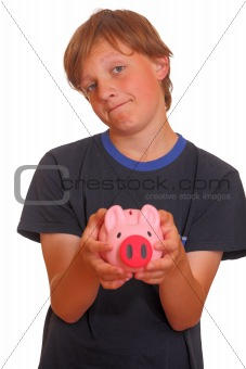 Skeptical teenager with piggy bank