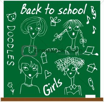 Back to school girls set cartoon face
