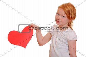 Girl with red paper heart