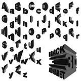 Black 3d alphabet
