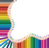 vector frame of colored pencils