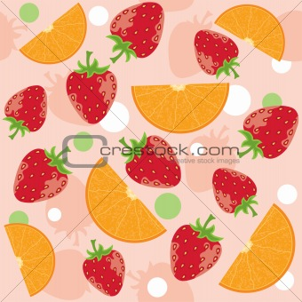 abstract background with strawberry and oranges