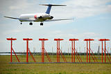 Air travel - Plane is landing in airport