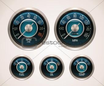 Vector retro car gauges