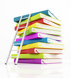 stack of book and white ladder
