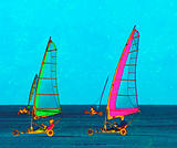 Colourful land sailing