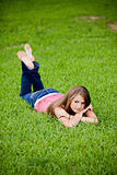 Teenage Female Girl on Grass