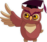 Cartoon Wise Owl with graduation cap